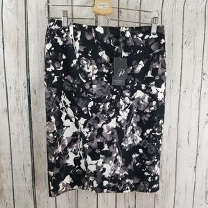 NWT Adrianna Papell Printed Pencil Skirt Blk Whte